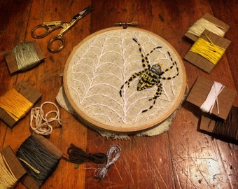 Banded Garden Spider Embroidery Art