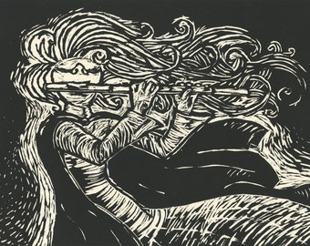 Flute Girl // Limited Edition Woodcut