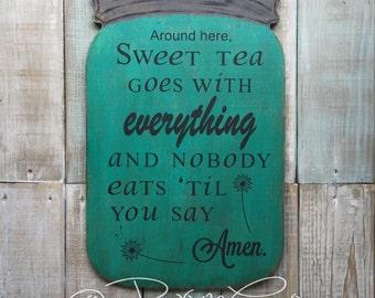 Mason Jar / Sweet Tea / Kitchen Decor / Amen / Rustic Home Decor