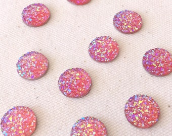 10pcs 8mm/10mm/12mm Druzy Cabochon Metallic Drusy Resin Cabochons Kawaii Cabs Fits 8-12mm Flat Round Bezel Jewelry Supplies  coral