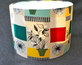 Handmade lampshade using vintage 1950's homestyle fabric.