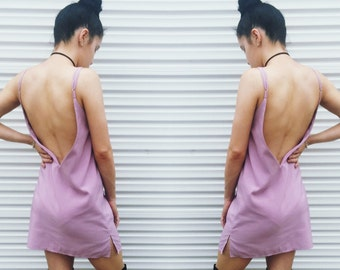 Handmade Womens Backless Adjustable Slip Mini Dress // Mauve