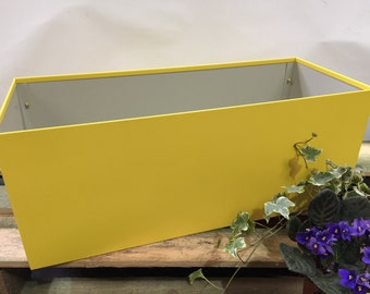 Rectangle Handmade Metal Planter, Aztec Yellow Plastisol Leather Grain Coated Metal Finish