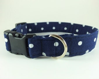 Dog Collar - Blue And White Polka Dot - Handmade