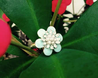 Blue retro flower ring