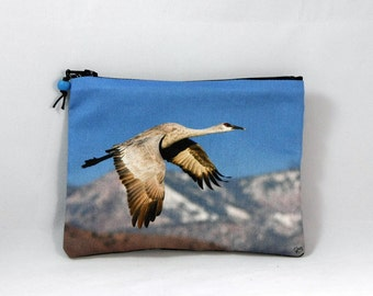 Cotton Coin Purse with Bosque del Apache Crane flying over the Mountains Photo Print