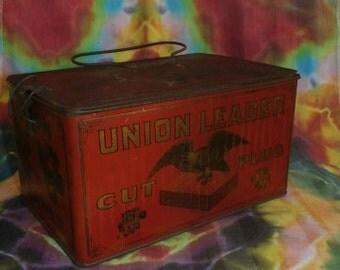union leader cut plug tobacco tin