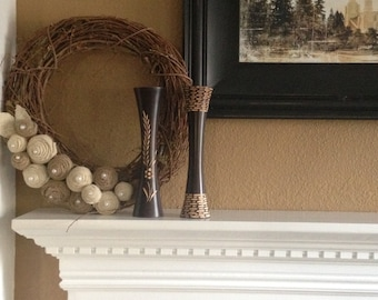Grapevine wreath with handmade burlap roses topped with pearl buttons
