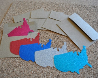 USA Glitter Gift Tags / Notecards with Envelope - Travel Themed Card - Set of 5