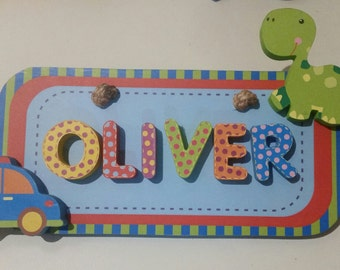 Personalised baby children kids name plaque board nursery decor door sign 3D