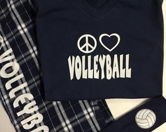 Peace Love Volleyball Navy Pajama Set