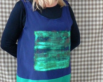 Hand-painted, recycling, sleeveless green-navy blue tunic