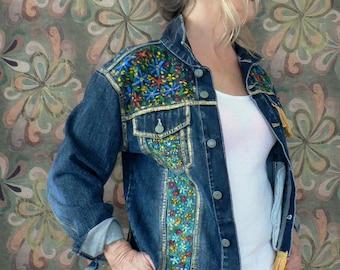 Handpainted recycled denim jacket with fringe