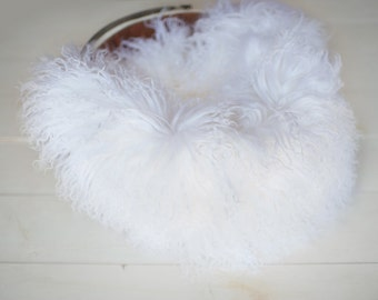 White Lamb Curls, Lamb Skin Dyed, Newborn photography Fur Layering, Gray Ready to ship fur