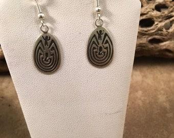 ON SALE Vintage Navajo Sterling Silver Hand Stamped Dangle Earrings Signed