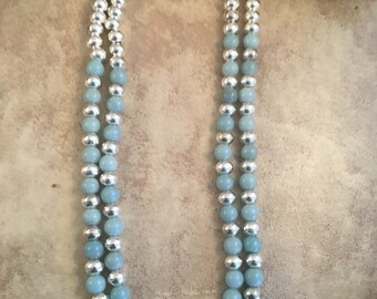 ON SALE Vintage Zuni Larimar & Sterling Silver Beaded Double Strand Necklace