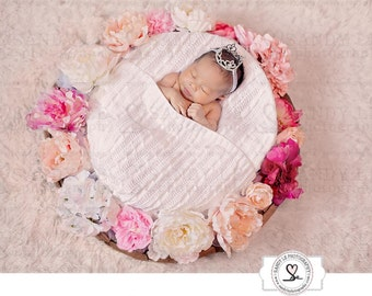 Newborn Digital Backdrop - Mixed Pink and White Flower Wreath Background Composite