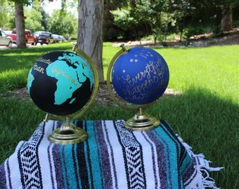 "Custom Hand-Painted Globe, Painted Globe, Calligraphy, Lettering, Quote Globes, Home Decor, Office Decor, Wedding Decor (12"")"