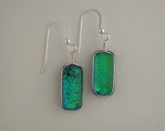 Green Dichroic Glass Earrings with Silver wire wrap