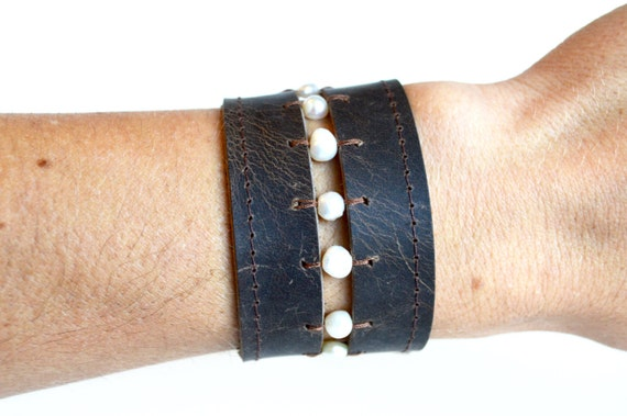 Brown Leather and Pearl Beaded Cuff Bracelet // Pearl Beaded Leather Cuff // Wide Brown Leather Cuff