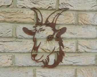 Goat Head / Goat Garden Art / Rusty Metal Art / Garden Decoration / Goat Gift / Goat Wall Hanging / Goat Metal Art / Garden Wall Hanger
