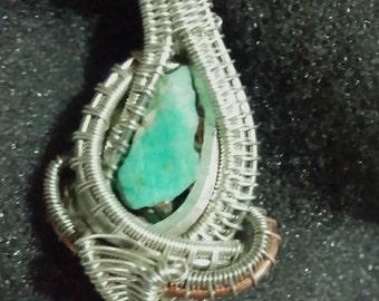 Silver & Copper Wire. Amazonite.