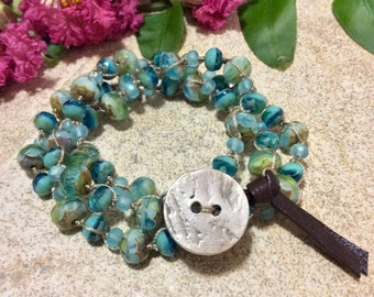 Ocean Blue Hand Knotted Beaded Wrap Bracelet