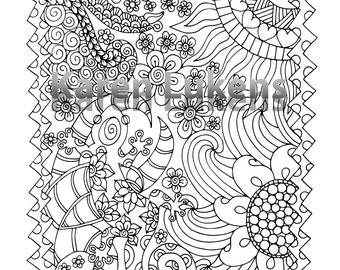 Happy Gecko, 1 Adult Coloring Book Page, Printable Instant Download
