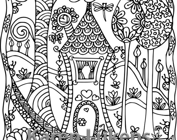 Featured listing image: Happyville Estate, 1 Adult Coloring Book Page, Printable Instant Download