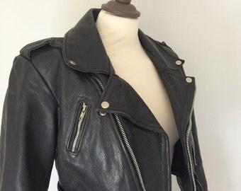 vintage. 1980s disressed leather biker jacket