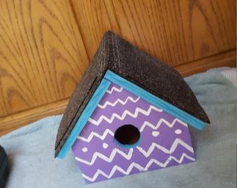 Chevron purple&turquoise birdhouse