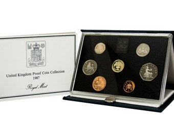 1987 Royal Mint Proof Coin Year Set Complete with Certificate