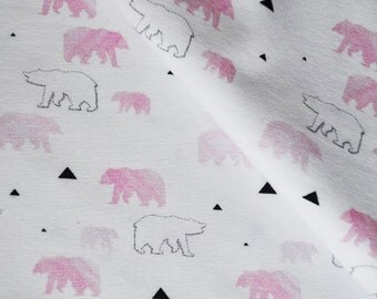 Jersey knit fabric - Ice Bear pink