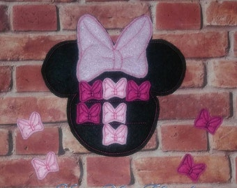 Girl Mouse Tic Tac Toe Felt Game Embroidery Design