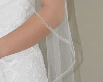 "Sheer 42"" Fingertip Veil with 1/4"" Organza Ribbon Edge"