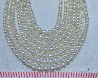 3-8mm short potato pearls,Tapered Pearl Necklace,smooth tiny blemishes freshwater pearl strand,high luster,oval pearls