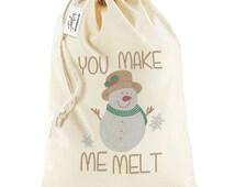 Snowman Quote You Make Me Melt Rhinestone Santa Sack Christmas Stocking Gift Bag