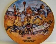 Vintage Ceramic Collectors Plate 1992 USA Summer Olympics Team Barcelona, Spain