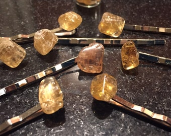 Citrine hair pins, stone bobbypins, citrine, hair pins, handmade, stone hair accessories, stone hair pins