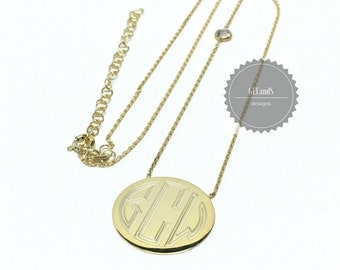 Monogrammed Gold plate Engraved Necklace-Bridal, sorority, graduation, birthday gift