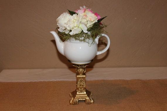 Tea party centerpiece gold decor vintage teacup