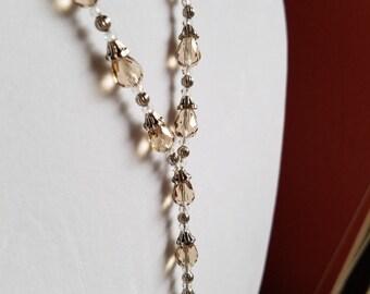 Set: Neutral Teardrop Crystal Necklace w/ Earrings