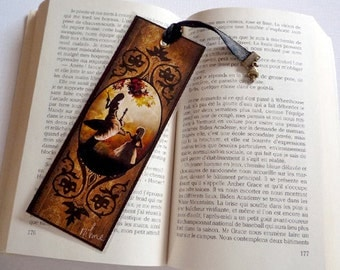 Bookmark Alice and Caterpillar - illustrated, laminated, handmade