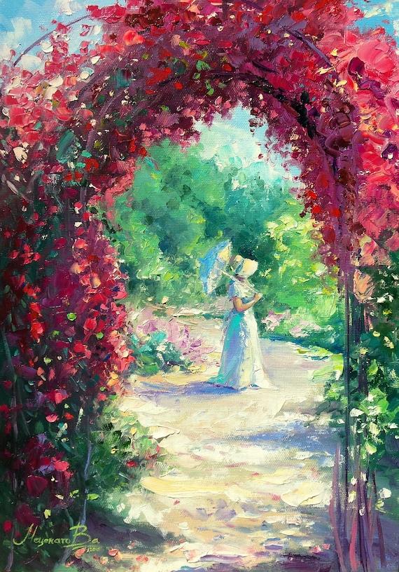 Garden Roses Flowers Rose Arch Oil Painting Artwork