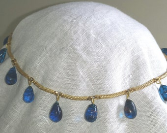 Glass Lamp Work Necklace Gold Glass Beads Aegean Blue Goddess Necklace