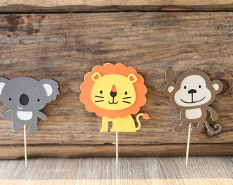 Jungle/zoo theme party, 12-piece Lion/monkey/Koala cutout, birthday party,first birthday, Cupcake topper, cake topper, center piece