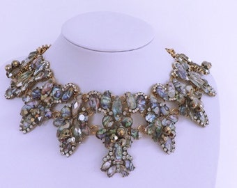 Statement necklace with emerald marble effect stones  - discount code inside!