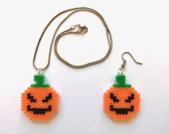 Halloween Pumpkin Perler Bead Earrings, Keychain, Necklace - Perler Bead, Halloween, Keychain, Necklace, Earrings, Pumpkin, 8-bit, Perler