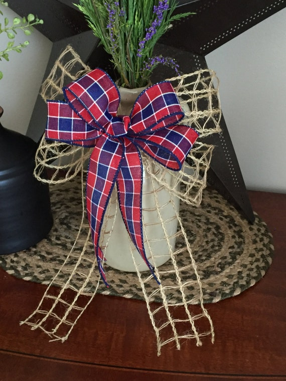 4th of July Bow/Planter Accent/Wreath Accent/Red White and Blue Ribbon/Burlap Country Decor/American Country Decor/American Spirit Bow