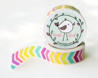 Chevron Washi Tape - 1 roll, rainbow colorful washi tape, bright planner tape, 15mm x 10m